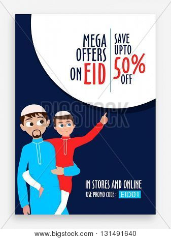 Eid Mega Offers with 50% Off, Creative Sale Pamphlet, Banner or Flyer design with illustration of a Muslim man holding his cute son for Islamic Festival celebration.