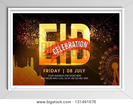 3D Golden Text Eid with Mosque and Ferris Wheel on fireworks background, Elegant Invitation Card design for Muslim Community Festival celebration.