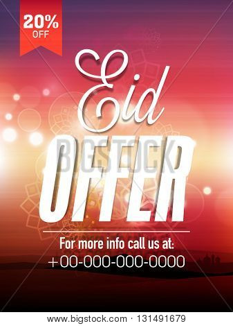 Glossy Pamphlet, Banner or Flyer design of Eid Offer with 20% Discount for Muslim Community Festival celebration.