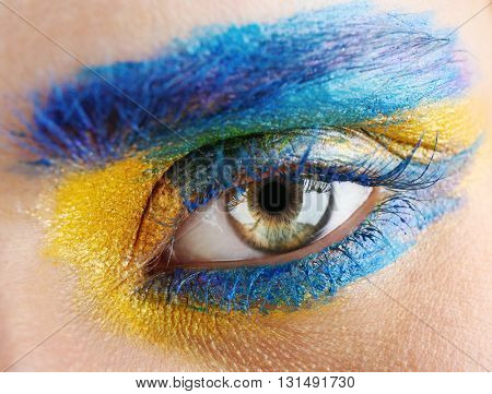High fashion eye makeup, close up