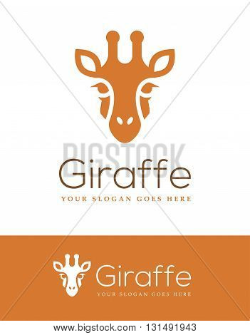 Giraffe head icon isolated on white and orange backgrounds. Can be used for your logo design template