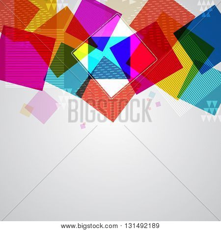 Abstract geometric background with glossy colorful squares.