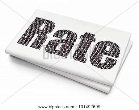 Banking concept: Pixelated black text Rate on Blank Newspaper background, 3D rendering