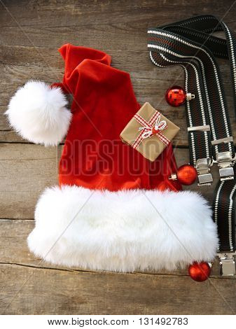 Santa Claus costume on wooden background, close up