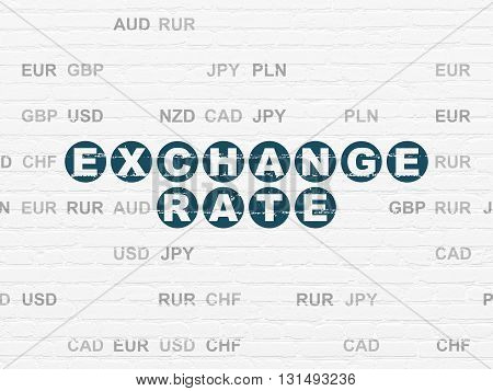 Banking concept: Painted blue text Exchange Rate on White Brick wall background with Currency