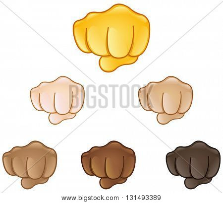 Fisted hand sign set of various skin tones