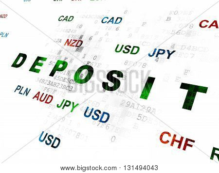 Currency concept: Pixelated green text Deposit on Digital wall background with Currency