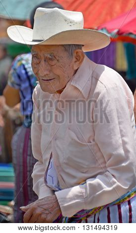 CHICHICASTENANGO GUATEMALA APRIL 29 2016: Portrait of a old Mayan man. The Mayan people still make up a majority of the population in Guatemala,