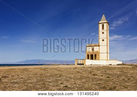 Abandoned Church at Almadraba de Monteleva, Cabo de Gata near Almeria, Spain