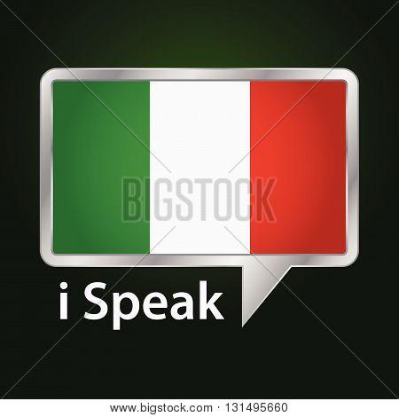 Vector stock of Italy flag inside speech bubble Speaking Italian language