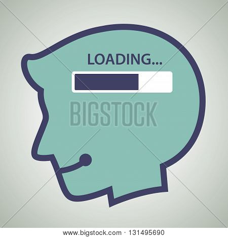 Vector stock of human head silhouette with loading progress bar inside