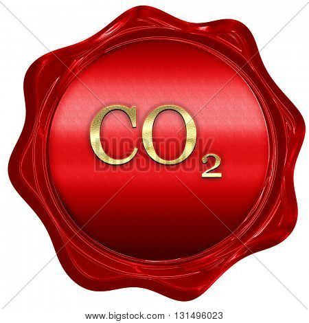 CO2 warning sign, 3D rendering, a red wax seal