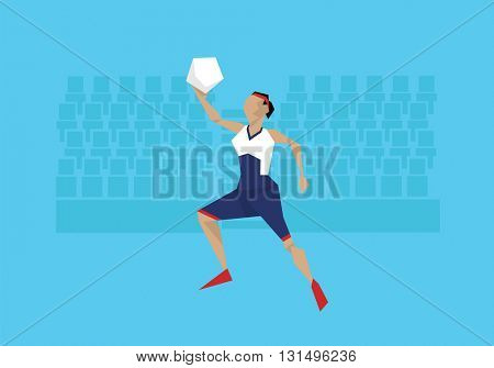 Illustration Of Female Basketball Player Competing In Event