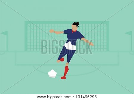 Illustration Of Female Soccer Player Competing In Match