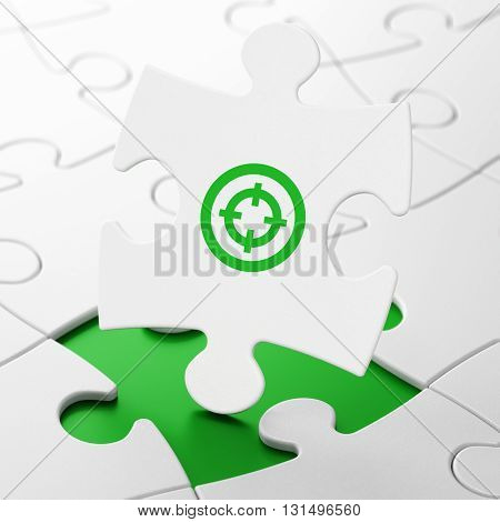 Finance concept: Target on White puzzle pieces background, 3D rendering