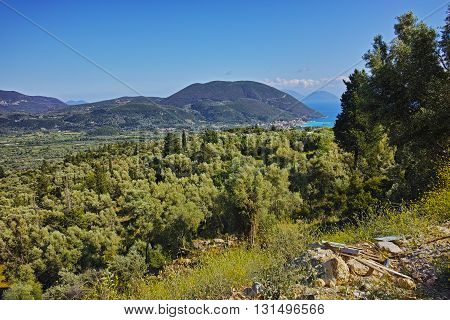 Amazing landscape of mountain of Lefkada near Vasiliki village,  Ionian Islands, Greece
