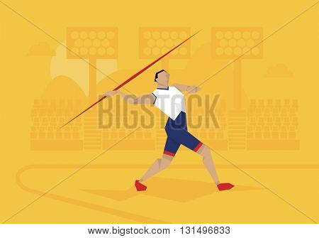 Illustration Of Male Athlete Competing In Javelin Event
