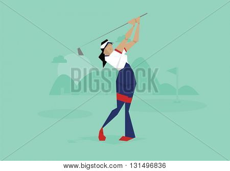 Illustration Of Female Golfer Competing In Event