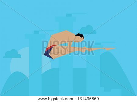 Illustration Male Swimmer Competing In Diving Event