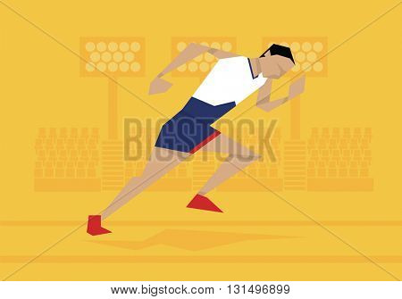 Illustration Of Male Athlete Competing In Sprint Race