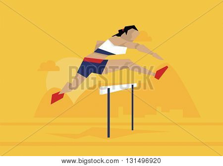 Illustration Of Female Athlete Competing In Hurdles Race