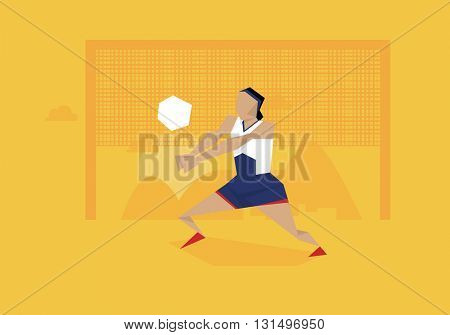 Illustration Of Female Volleyball Player Competing In Event