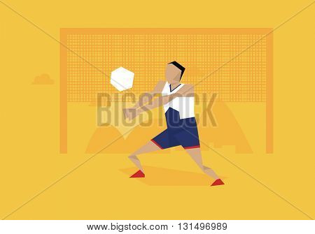 Illustration Of Male Volleyball Player Competing In Event