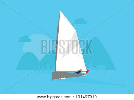 Illustration Of Yacht Competing In Sailing Event