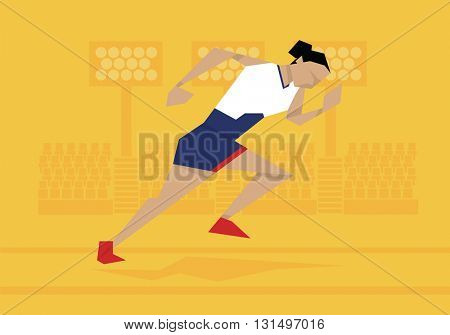 Illustration Of Female Athlete Competing In Sprint Race