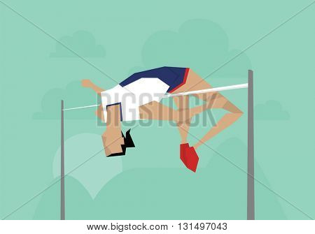 Illustration Of Female Athlete Competing In High Jump Event