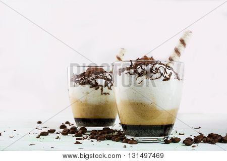Coffee cocktail with cream. Cocoa cocktail. Cocoa drink. Coffee cocktail. Chocolate dessert. Coffee dessert . Chocolate cocktail. Chocolate drink.