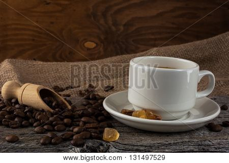 Coffee mug on rustic background. Coffee cup. Strong coffee. Coffee mug. Cup of coffee. Coffee break. Morning coffee.