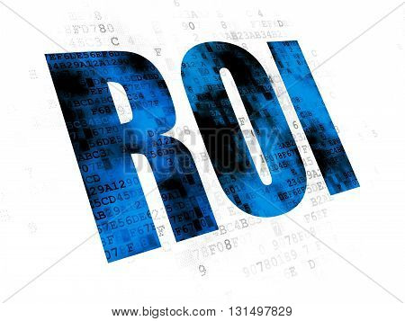 Business concept: Pixelated blue text ROI on Digital background