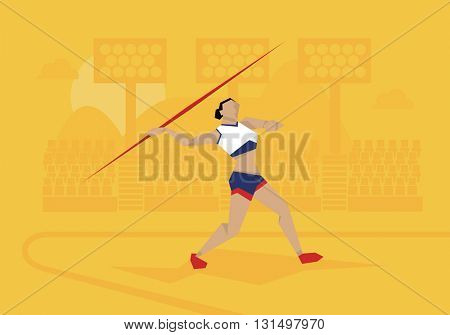 Illustration Of Female Athlete Competing In Javelin Event