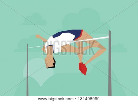 Illustration Of Male Athlete Competing In High Jump Event