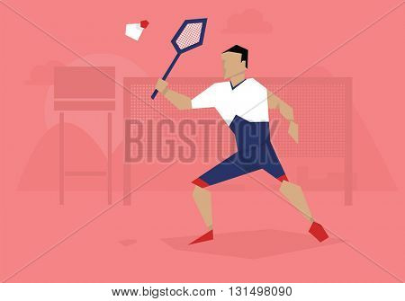 Illustration Of Male Badminton Player Competing In Event