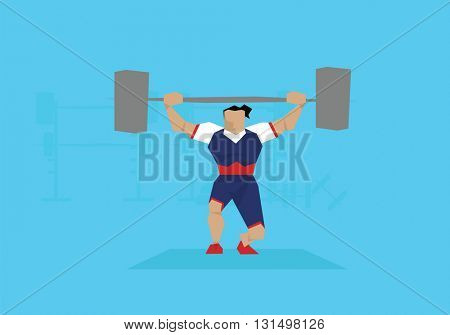 Illustration Of Female Weightlifter Competing In Event