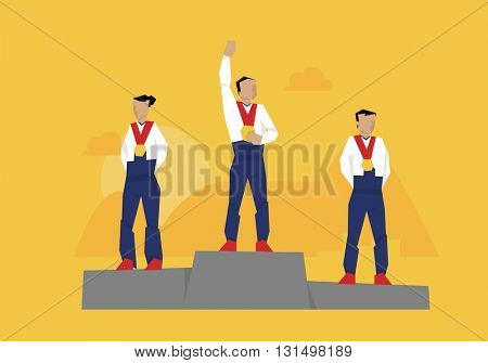 Illustration Of Medal Winners Standing On Podium At Event