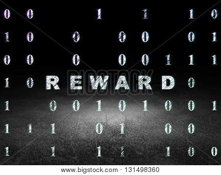Business concept: Glowing text Reward in grunge dark room with Dirty Floor, black background with Binary Code