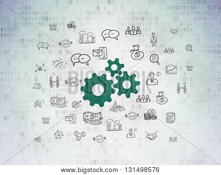 Finance concept: Painted green Gears icon on Digital Data Paper background with  Hand Drawn Business Icons