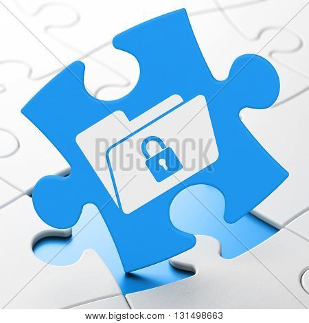 Finance concept: Folder With Lock on Blue puzzle pieces background, 3D rendering