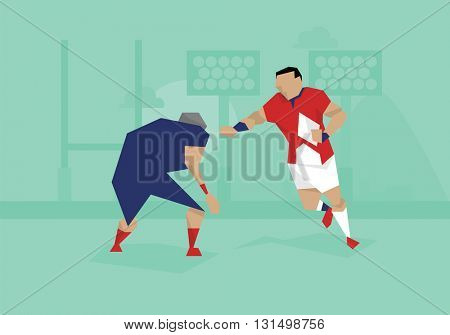 Illustration Of Female Soccer Rugby Competing In Match