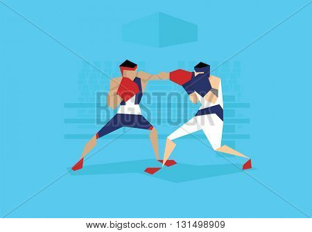 Illustration Of Two Male Boxers Competing In Event
