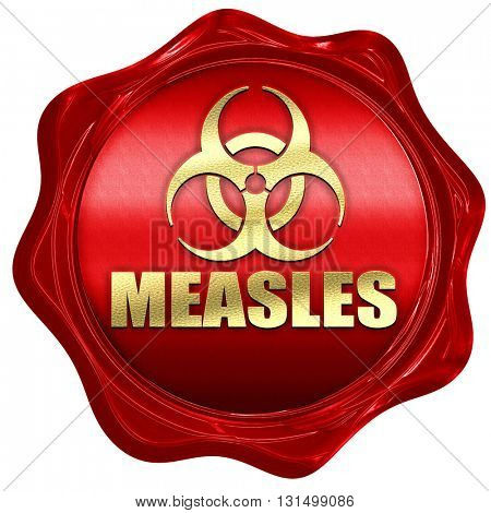 Measles concept background, 3D rendering, a red wax seal