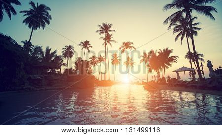 Amazing sunset on a tropical coast with palm trees.
