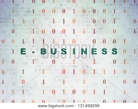 Finance concept: Painted green text E-business on Digital Data Paper background with Binary Code