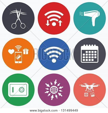 Wifi, mobile payments and drones icons. Hotel services icons. Wi-fi, Hairdryer and deposit lock in room signs. Wireless Network. Hairdresser or barbershop symbol. Calendar symbol.