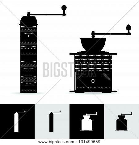 vintage coffee grinder art illustration in black