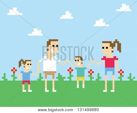 Pixel Art Image Of Family Holding Hands In Park
