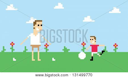 Pixel Art Image Of Family Playing Football In Park